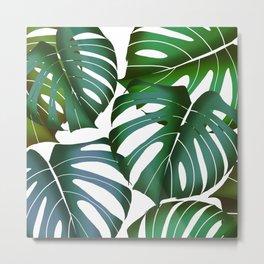 Monstera deliciosa leaf pattern digital illustration  Metal Print