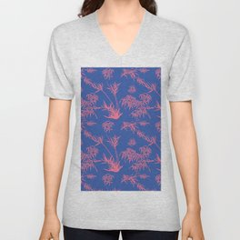 Bamboo Silhouettes in China Blue/Coral Reef Unisex V-Neck