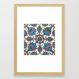 An Ottoman Iznik style floral design pottery polychrome, by Adam Asar, No 13h Framed Art Print