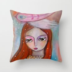 Blessings - girl art Throw Pillow