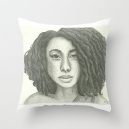Corinne Bailey Rae Pencil Portrait Throw Pillow
