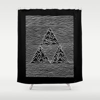joy division Shower Curtains featuring Triforce // Joy Division by Daniel Mackey
