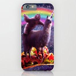 Space Sloth Riding Llama Unicorn - Taco & Burrito iPhone Case
