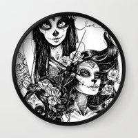 dia de los muertos Wall Clocks featuring Dia de los Muertos by Khaedin