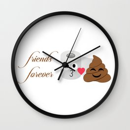 Toilet tissue and poop emoji friends forever Wall Clock