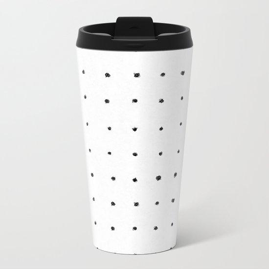 Dot Grid Black and White Metal Travel Mug