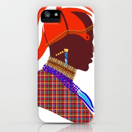 Kenya massai warrior digital art graphic design iPhone Case