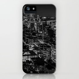 Seattle from the Space Needle in Black and White iPhone Case