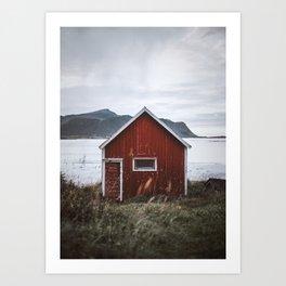Red Cabin Art Print