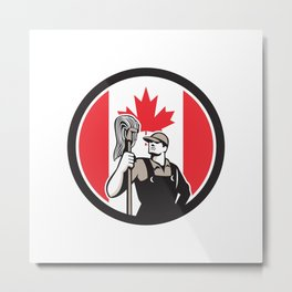 Canadian Industrial Cleaner Canada Flag Icon Metal Print