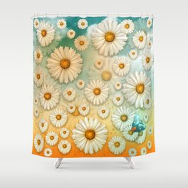 """Turquoise Moth &  Marguerites"" Shower Curtain"