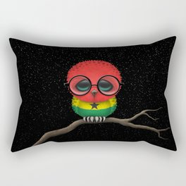 Baby Owl with Glasses and Ghana Flag Rectangular Pillow