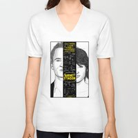 himym V-neck T-shirts featuring Barney Stinson Playbook (Silver Linings Playbook + HIMYM) by HuckBlade