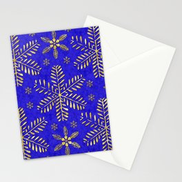 DP044-4 Gold snowflakes on blue Stationery Cards