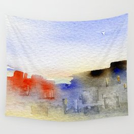 buildings near the beach Wall Tapestry
