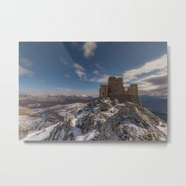 Winter panoramic view with ancient castle Metal Print