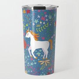 Colorful Unicorn Pattern Travel Mug