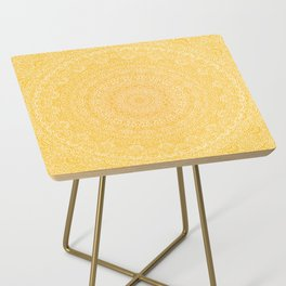 The Most Detailed Intricate Mandala (Mustard Yellow) Maze Zentangle Hand Drawn Popular Trending Side Table