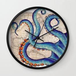 Octopus Tentacles Vintage Map Blue Wall Clock