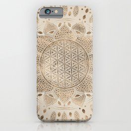 Flower of Life in Lotus Dot Art pastel golds and canvas iPhone Case