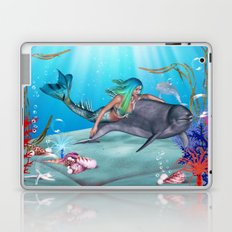 The Mermaid And The Dolphin Laptop & iPad Skin