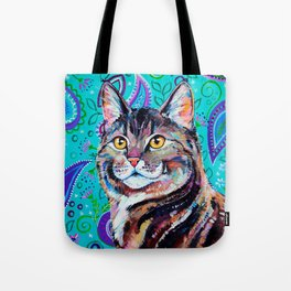 Tabby Cat on Paisley Tote Bag