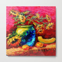 Blue Tiffany Vase and Sunflowers Painting Metal Print