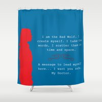 bad wolf Shower Curtains featuring Bad Wolf by Grace Thanda