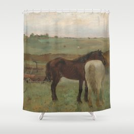 Horses in a Meadow Shower Curtain