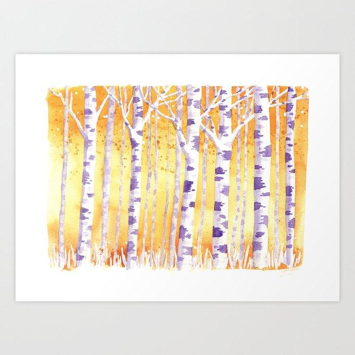 Golden Birch Trees Art Print