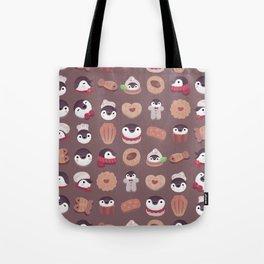 Cookie & cream & penguin - brown  pattern Tote Bag