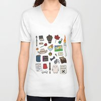 doctor who V-neck T-shirts featuring Doctor Who by Shanti Draws