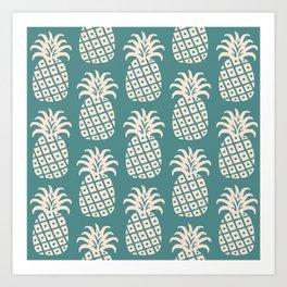 Retro Mid Century Modern Pineapple Pattern Teal and Beige 2 Art Print
