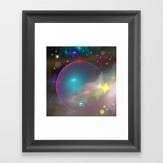 Dreamy galaxy with planets and shining stars Framed Art Print