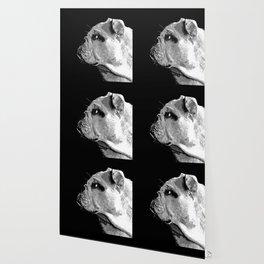 english bulldog dog vector art black white Wallpaper
