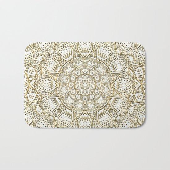 Golden Mandala in Cream Colored Background Bath Mat