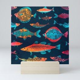 Seamlessly tiling fish pattern Mini Art Print