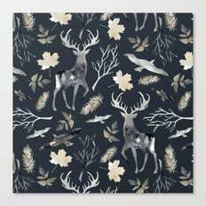 Deer and birds. Dark pattern Canvas Print