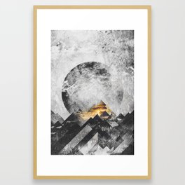 One mountain at a time - Black and white Framed Art Print