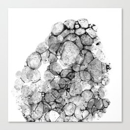 Watercolor abstract bubble splashing paint black gray ink isolated on white background Canvas Print