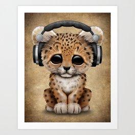 Cute Leopard Cub Dj Wearing Headphones Art Print