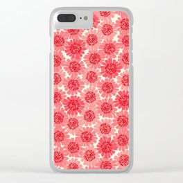Coral Floral Clear iPhone Case