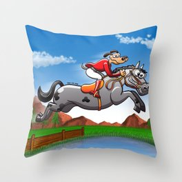 Olympic Equestrian Jumping Dog Throw Pillow