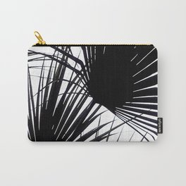 Black and White Tropical Leaves Carry-All Pouch