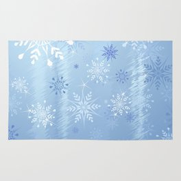 Christmas Snowflakes and Ice Background Rug