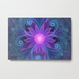 Blown Glass Flower of an ElectricBlue Fractal Iris Metal Print