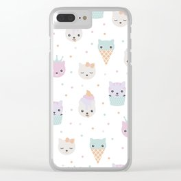 Kawaii breeze summer kitty cupcake cats and snow one ice cream kittens Clear iPhone Case