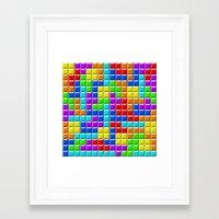 tetris Framed Art Prints featuring Tetris by Rebekhaart
