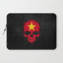 Flag of Vietnam on a Chaotic Splatter Skull Laptop Sleeve