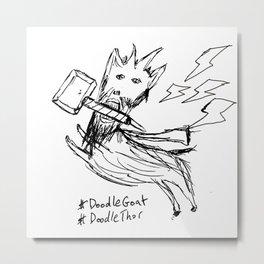 DoodleThor, Goat of Thunder Metal Print